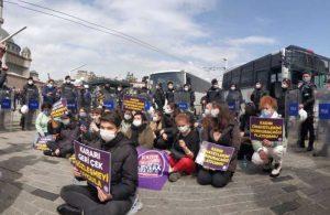 Kadınlardan Taksim'de 'İstanbul Sözleşmesi' protestosu