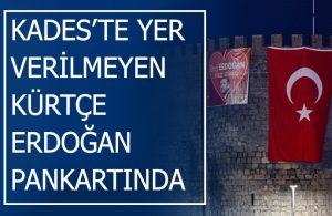 Kürtçe tabelaları söken AKP, Diyarbakır surlarına Kürtçe 'Erdoğan' pankartı astı