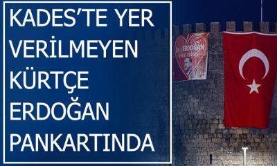 Kürtçe tabela söken AKP, Diyarbakır surlarına Kürtçe 'Biz Erdoğan'ı seviyoruz' pankartı astı