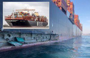 Ambarlı Limanı'nda iskeleye dev konteyner gemisi çarptı