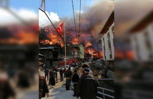 Artvin'de büyük yangın: 60'a yakın ev kül oldu