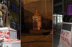 Provokatörler yeniden ortaya çıktı… Bir günde üç Atatürk heykeline çirkin saldırı