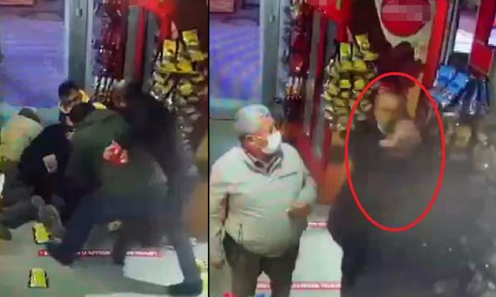 Markette boğazına bıçak dayadı, müşteriler ile çalışanlar kurtardı
