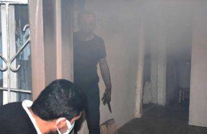 Evini ateşe verdi; müdahaleye gelen itfaiyeyi elinde bıçakla karşıladı