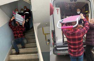 Kafasına saplanan merdivenle ambulansa bindirildi