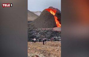 Sosyal medya bunu konuşuyor: Yanardağ lav püskürtürken voleybol oynadılar