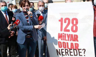 İstanbul'daki 39 ilçe ve il binasına 128 milyar dolar nerede? pankartı asıldı