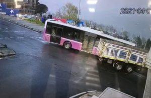 İETT otobüsüyle kamyonun çarpışma anı kamerada