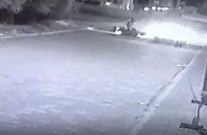 Atın ipine takılan motosiklet böyle devrildi