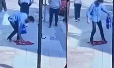 Türk bayrağını yere serip üzerine basan kişi gözaltına alındı