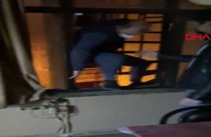 Polisi görünce pencereden kaçmaya çalıştı atlayamayınca geri döndü