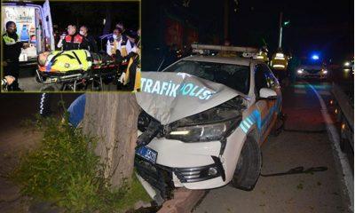Trafikte kovalamaca sırasında polis kaza yaptı