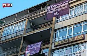 Gözaltı gerekçesi yapılmıştı: Bu kez de İstanbul Sözleşmesi pankartını genel merkeze astılar