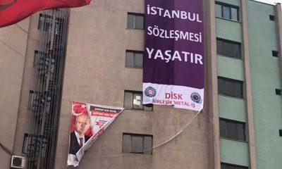 MHP'nin binasına 'İstanbul Sözleşmesi yaşatır' afişi asıldı