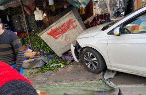 Esenyurt'ta dehşet anları: Otomobil kadınlara çarpıp manava girdi