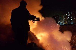 Eski taş ocağı arazisinde çıkan yangın korkuttu