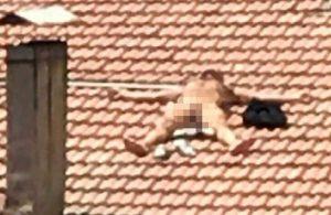 Tam açıldı, çatıda gözaltına alındı