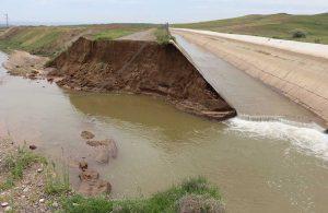 HES kanalının duvarı çöktü, 300 dönüm tarım arazisi zarar gördü!