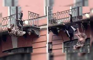 Kavga eden çift balkondan düştü