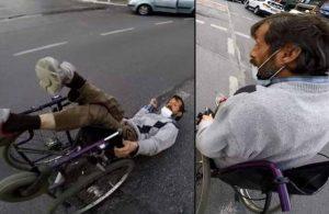 İstanbul'da pes dedirten olay! Trafiğin ortasında düşen engelli vatandaşı sadece izlediler