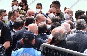 Erdoğan 'tam kapanmaya' rağmen kalabalık bir grupla cenazeye katıldı