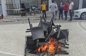 Antalya'da esnaf sandalye yaktı!