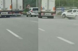 Trafikte yol verme inatlaşması kazayla bitti