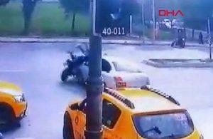 Motosikletle otomobil böyle çarpıştı