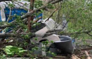 Üzerine ağaç düştü, portatif tuvalette mahsur kaldı