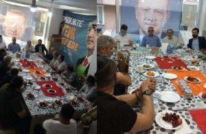 AKP'liler toplantıda Türk bayraklarını sofra bezi yaptı