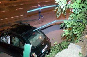 Kontrolden çıkan otomobil alt yola düştü