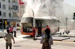 Gaziantep'te hareket halindeki otobüs yandı