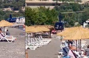 Helikopterle plaja inme görgüsüzlüğün açıklaması daha da görgüsüz