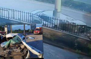 Korkunç kaza! Aydınlatma direğine çarpan araç paramparça oldu: 3 ölü, 2 yaralı