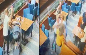 Kafede boşandığı kadını darp etti, erkekler izlemekle yetindi