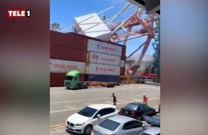 Akılalmaz gemi kazası! Vinç ve konteynerler limana devrildi