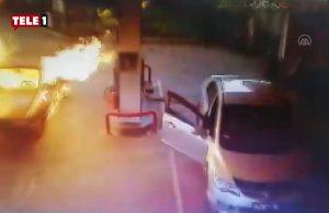 Araç benzin istasyonunda alev aldı! Emekçiler müdahale etti