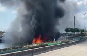 Maltepe Sahili'nde 8 tekne yandı