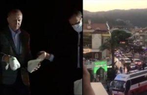 Erdoğan yangın cehennemi yaşayan Marmaris'e konvoyla girdi çay fırlattı