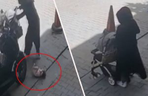 Bebeği yere düşürüp, fark etmeden üzerinden geçti ve üstüne bastı
