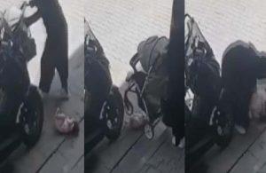 Bebek arabasındaki çocuk yere düştü, durumu fark etmeyen anne üzerinden geçti