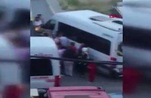 Yol verme kavgası! Düğün konvoyundaki bir grup, minibüs şoförüne saldırdı
