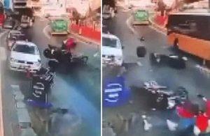 Motosikletlilerin feci kazası