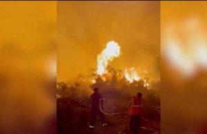 Termik santrale yaklaşan yangına müdahale anları! İbrahim Çelikkol da orada