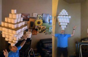 Kafatasında 101 tuvalet kağıdı taşıyarak rekorlar kitabına girdi