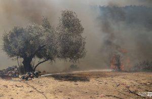 Yangını söndürmeye çalışan itfaiye erleri böyle görüntülendi