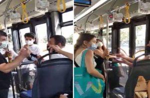 Otobüste maskesini burnunun altına takan yolcuya tepki