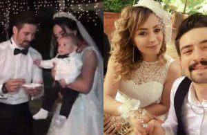 Nikahlı çift, pandemi nedeniyle sürekli ertelenen düğünlerine 4 aylık oğullarıyla katıldı