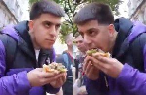 Veganların düzenlediği protestoda 'dünyanın en büyük hamburgerini' yedi