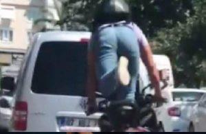 Motosiklet üzerinde ayağa kalktı, ceza yağdı